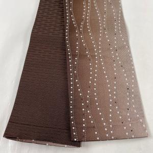 半幅帯 美品 優品 幾何学 茶色 化繊 中古