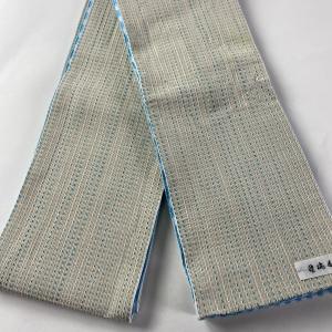 半幅帯 優品 リバーシブル 縞 市松 クリーム 正絹 中古