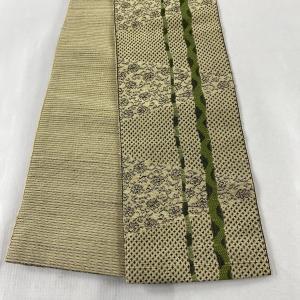半幅帯 美品 優品 草花 幾何学模様 薄茶色 全通 正絹 中古