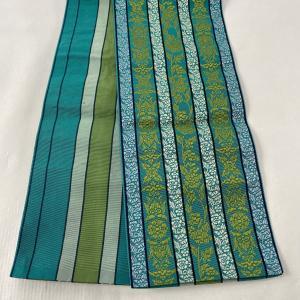 半幅帯 美品 優品 リバーシブル 博多織 草花 縞 緑 正絹 中古
