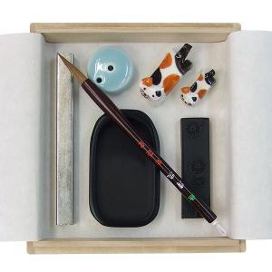 大人の書道セット Sサイズの書道セット 選べるかわいい猫の筆置き 送料無料|kaiseidou