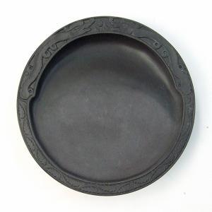 端渓 麻子坑 円型彫刻硯 4.0吋 『硯石 写経 本石 木箱 書道用品』|kaiseidou