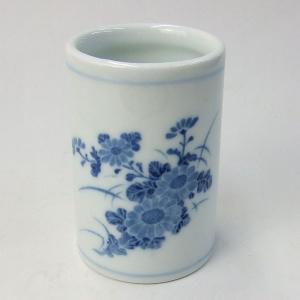 陶器の筆筒 菊 『書道用品 筆立て』|kaiseidou