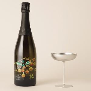 福島の日本酒と工芸品セット 人気一 あわ酒スパークリング 純米大吟醸 720ml 小浜製作所アルミ製グラス1脚セット|kaiseiya
