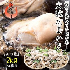 カキ 牡蠣 かき 剥き身 2kg(1kg×2袋/解凍後1.7kg/大粒2L約52〜70粒)広島県産 BBQ 海鮮 バーベキュー|kaisenichibashioso