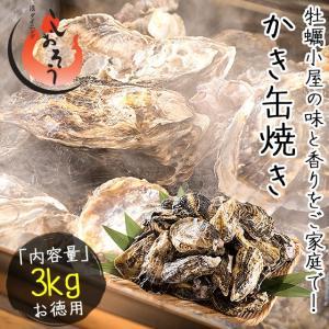 かき 缶焼き 3kg(殻付きカキ約45個前後)軍手 牡蠣ナイフ付き