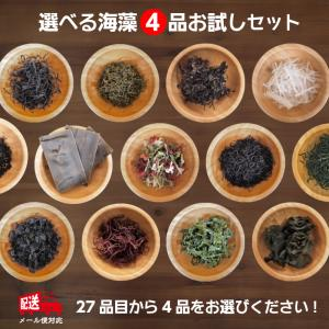 選べる海藻4品お試しセット(同梱不可)DM便 送料無料 ひじき あおさ 寒天 わかめ めかぶ ふのり 昆布
