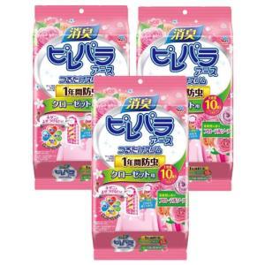 消臭ピレパラアース つけるだけスリム 1年間防虫 クローゼット用 柔軟剤の香りフローラルソープ×3個セット|kaiteki-club