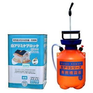 白アリミケブロック希釈済み 14L 無着色クリアータイプ+4L専用噴霧器セット|kaiteki-club