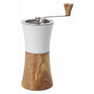 セラミック製ホッパーにオリーブウッドの粉受けを組み合わせた、ナチュラルテイストのコーヒーミルです。調...