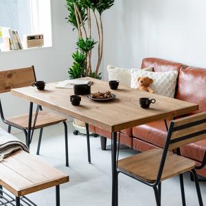 ダイニングテーブル おしゃれ 天然木 パイン無垢材 パイン材 テーブル ダイニング用  木製 スチー...