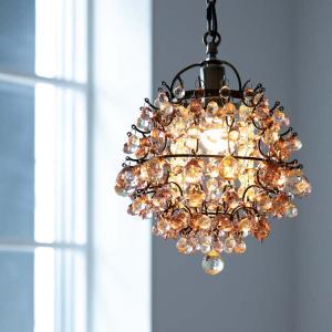 LED対応 1灯 かわいい プチシャンデリア フレッサ シャンデリア ペンダントランプ レトロ ガラス ビーズ トイレ 姫系 天井照明 ライト 可愛い おしゃれ 新生活の画像