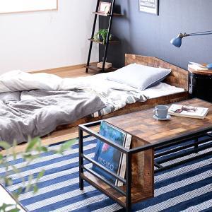 送料無料 ヴィンテージ風ベッド シングル ベッド シングルベッド フレーム ベッドフレーム 寝具 ブラウン おしゃれ かわいい 一人暮らし 寝室 ベッドルームの写真