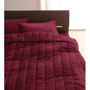 タオル地 タオルケット と ベッド用ボックスシーツ のセット セミダブル 色-ワインレッド /綿10...