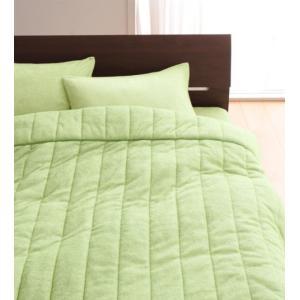タオル地 タオルケット と ベッド用ボックスシーツ のセット ダブル 色-ペールグリーン /綿100...