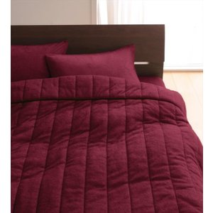 タオル地 タオルケット と ベッド用ボックスシーツ のセット クイーン 色-ワインレッド /綿100...
