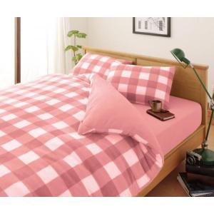 スーパーマイクロフリース ピローケース(枕カバー) の単品1枚 43x63cm 色-チェック柄ピンク