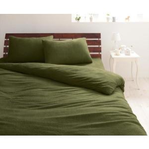 タオル地 ピローケース(枕カバー)の同色2枚セット 43x63cm 色-オリーブグリーン /綿100...
