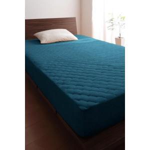 タオル地 敷きパッド一体型ボックスシーツ の単品(マットレス用) ダブル 色-ブルーグリーン /綿1...
