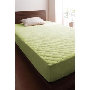 タオル地 敷きパッド一体型ボックスシーツ の単品(マットレス用) キング 色-ペールグリーン /綿1...