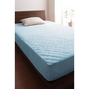 タオル地 敷きパッド一体型ボックスシーツ の単品(マットレス用) キング 色-パウダーブルー /綿1...