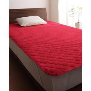 タオル地 敷きパッド の同色2枚セット セミダブル 色-マーズレッド /綿100%パイル