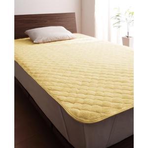 タオル地 敷きパッド の同色2枚セット ダブル 色-ミルキーイエロー /綿100%パイル