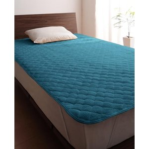 タオル地 敷きパッド の同色2枚セット ダブル 色-ブルーグリーン /綿100%パイル