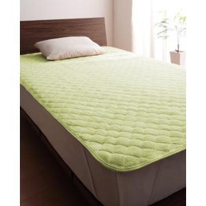タオル地 敷きパッド の同色2枚セット クイーン 色-ペールグリーン /綿100%パイル