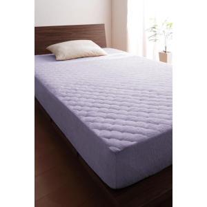タオル地 敷きパッド一体型ボックスシーツ の同色2枚セット シングル 色-ラベンダー /綿100%パ...