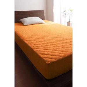 タオル地 敷きパッド一体型ボックスシーツ の同色2枚セット セミダブル 色-サニーオレンジ /綿10...
