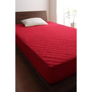 タオル地 敷きパッド一体型ボックスシーツ の同色2枚セット セミダブル 色-マーズレッド /綿100...