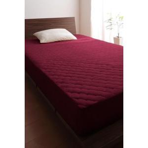 タオル地 敷きパッド一体型ボックスシーツ の同色2枚セット クイーン 色-ワインレッド /綿100%...