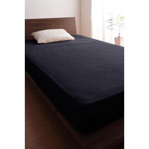 タオル地 ベッド用 ボックスシーツ の同色2枚セット クイーン 色-サイレントブラック /綿100%...