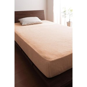 タオル地 ベッド用 ボックスシーツ の単品(マットレス用カバー) ワイドキング 色-さくら /綿10...