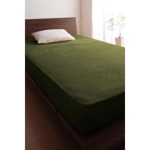 タオル地 ベッド用 ボックスシーツ の単品(マットレス用カバー) ワイドキング 色-オリーブグリーン...