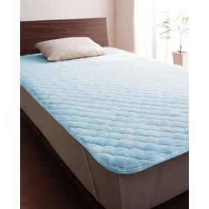 タオル地 敷きパッド の同色2枚セット セミシングル ショート丈 色-パウダーブルー /綿100%パ...