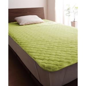 タオル地 敷きパッド の同色2枚セット セミシングル ショート丈 色-モスグリーン /綿100%パイ...