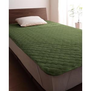 タオル地 敷きパッド の同色2枚セット シングル ショート丈 色-オリーブグリーン /綿100%パイ...