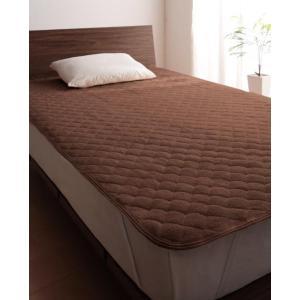 タオル地 敷きパッド の同色2枚セット セミダブル ショート丈 色-モカブラウン /綿100%パイル...