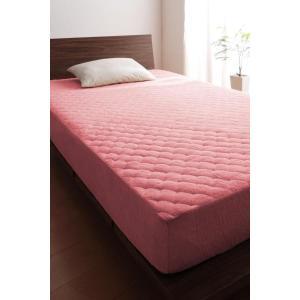 タオル地 敷きパッド一体型ボックスシーツ の同色2枚セット セミダブル ショート丈 色-ローズピンク...