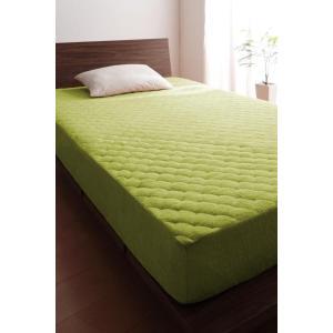 タオル地 敷きパッド一体型ボックスシーツ の同色2枚セット セミダブル ショート丈 色-モスグリーン...
