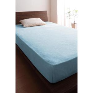 タオル地 ベッド用 ボックスシーツ の同色2枚セット セミダブル ショート丈 色-パウダーブルー /...
