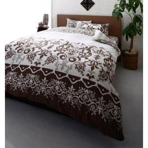 高級リゾート柄 ベッド用 ボックスシーツ の単品(マットレス用カバー) キング 色-ブラウン /洗え...