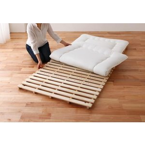 折りたたみ すのこベッド シングル /すのこマット 二つ折り スタンド式 布団干し 通気性 天然木の写真
