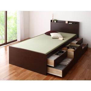 畳ベッド セミダブル ブラウン(フレームのみ マットレスなし)/チェストベッド 引出し付き 宮付き ...