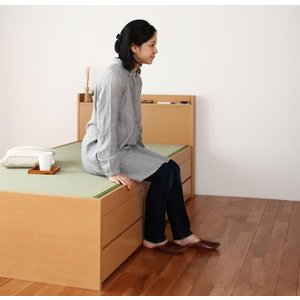 畳ベッド セミダブル ナチュラル(フレームのみ マットレスなし)組立設置無し 国産畳 ベッドガード付...