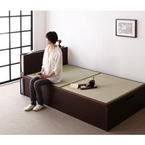 畳ベッド 跳ね上げ式ベッド セミダブル ブラウン(フレームのみ マットレスなし)組立設置無し 縦開き...