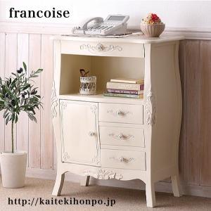 Francoiseフランソワーズ/ファックス台FAX台/ホワイト/アンティーク調クラシックリビングシリーズ|kaitekihonpo2