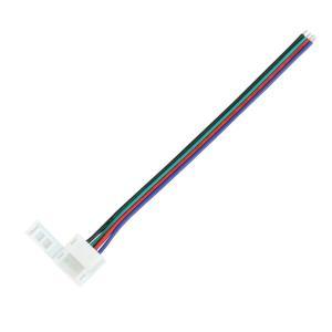 Kaito5570(50個) 10mm 防水 RGBテープライト用 接続ケーブル+コネクタ 片端子14cm (半田不要)|kaito-shop2011